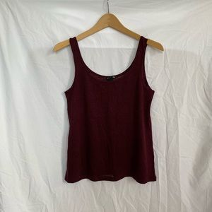 H&M Burgundy Red Sheer 100% Linen Relaxed Tank Top